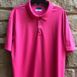 PGA Tour Men Pink Polo Shirt XL Lightweight